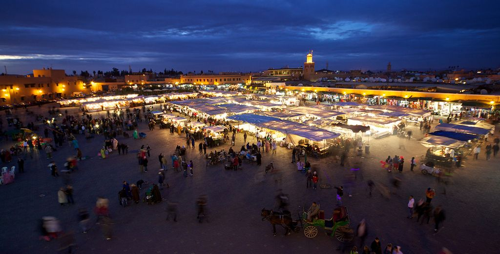 Venture out in the evening when Djemaa El-Fna square comes alive