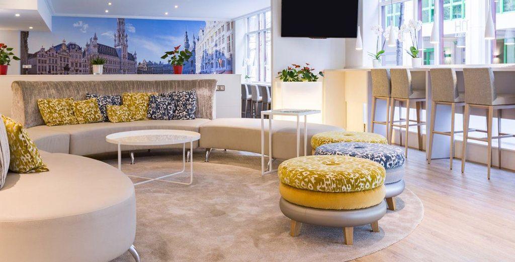 Enter the colourful lobby