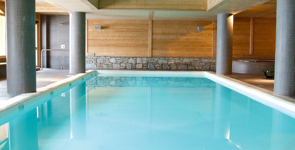 After a day on the slopes, unwind in the sauna, steam room, or indoor swimming pool