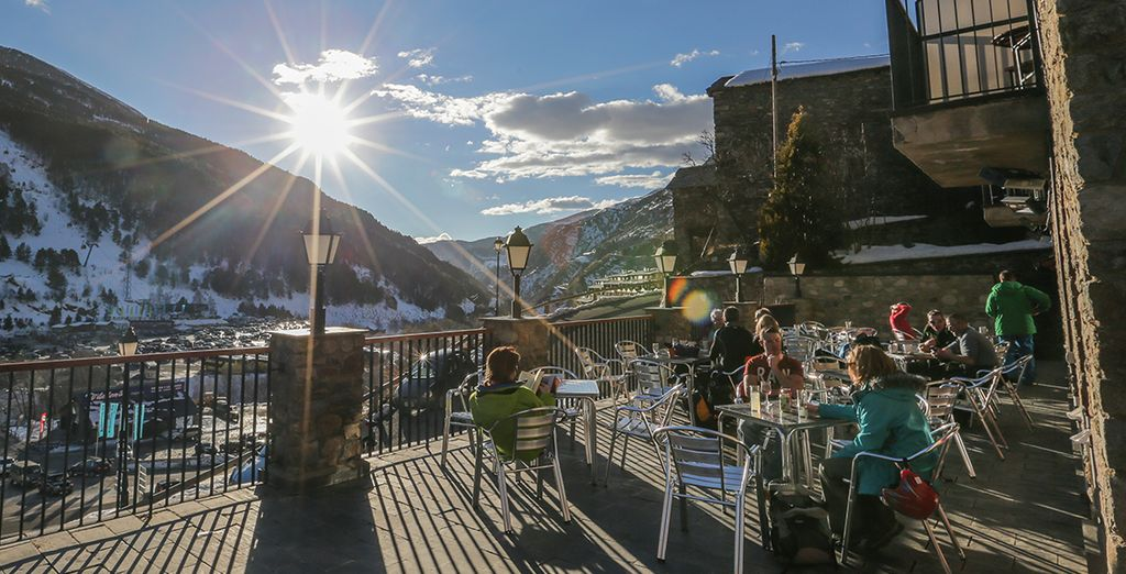 Head to the south facing sun terrace bar, after a day on the slopes