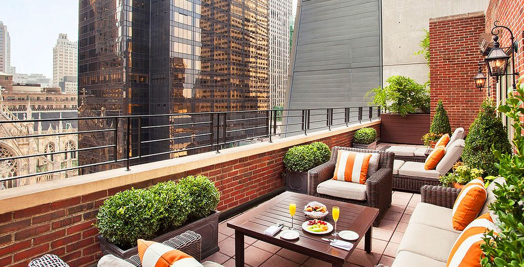 Views of Manhattan from the 17th floor terrace awaits you