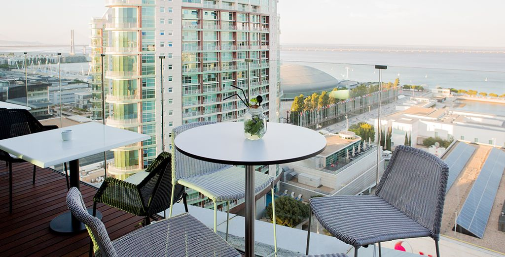 Enjoy gorgeous views from the bar's terrace