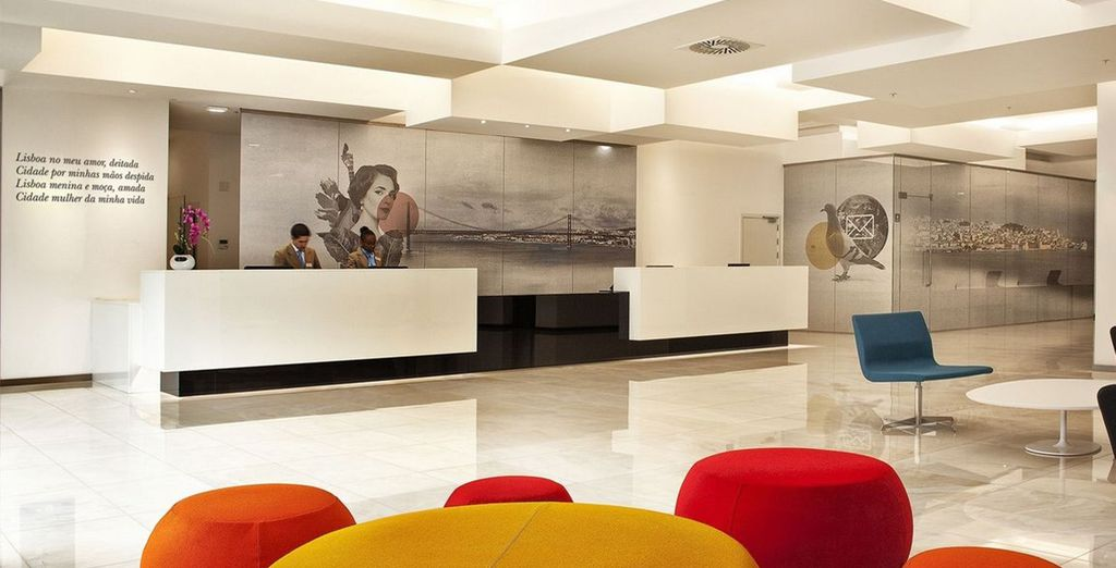 This modern hotel is decorated with images of the city