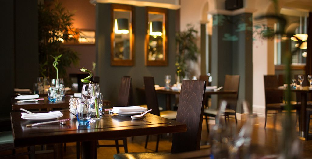 Dine in the sophisticated restaurant and taste delicious specialties