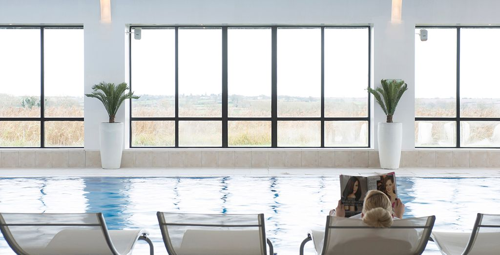 Or stay in the warm and relax by the pool, admiring the countryside views