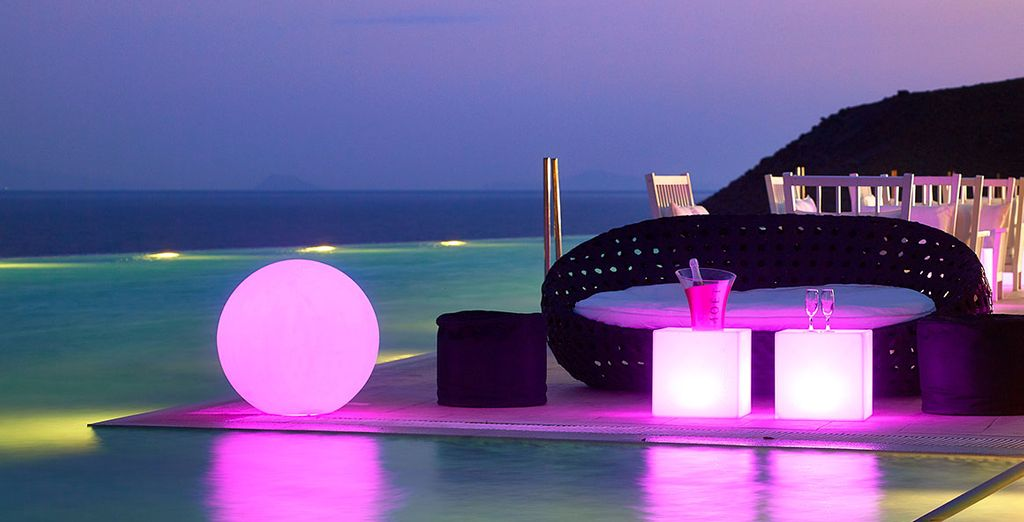 Relax in this beautiful setting at night