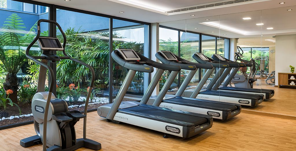 Or work out at the high tech gym