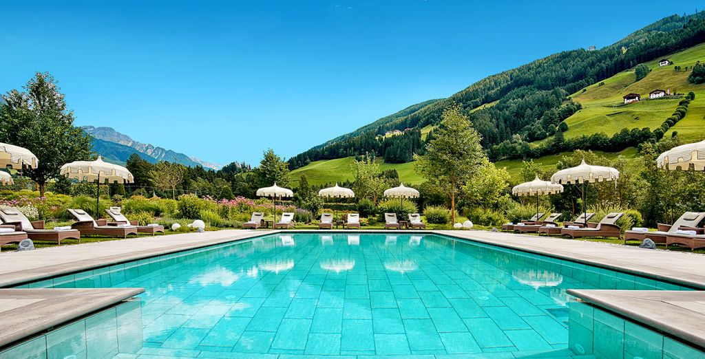 Admire the view in the heated outside pool