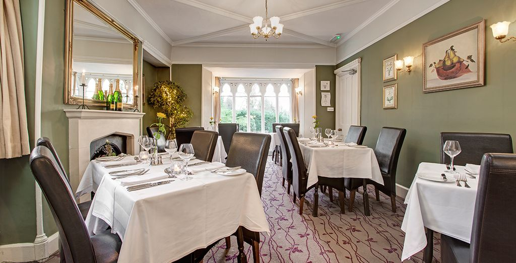 Tuck in in the charming dining room