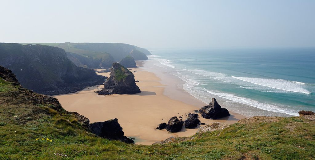 Visit local beauty spots such as Bedruthan Steps- 18 miles
