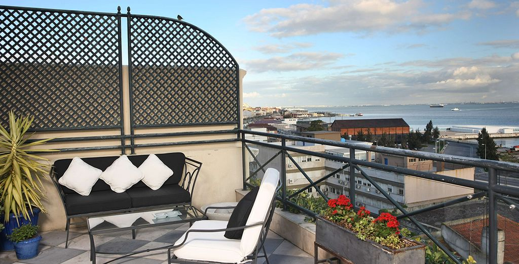 Take in the views of the Tagus River from the rooftop library terrace