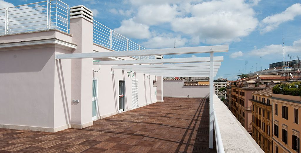 In the warmer months, head up to the hotel's rooftop terrace