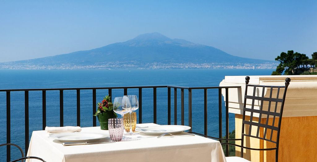 With the Mediterranean Sea and Mount Vesuvius in the background...