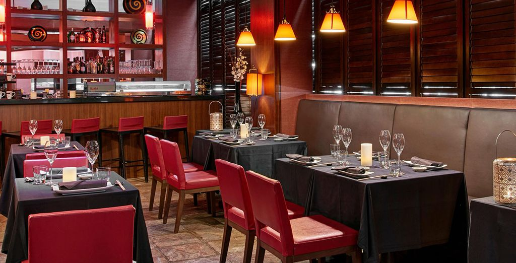 Choose from five on-site restaurants
