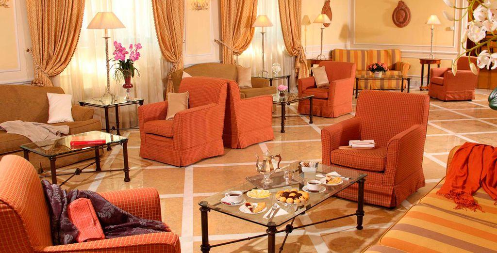Unwind in the plush, classic decor