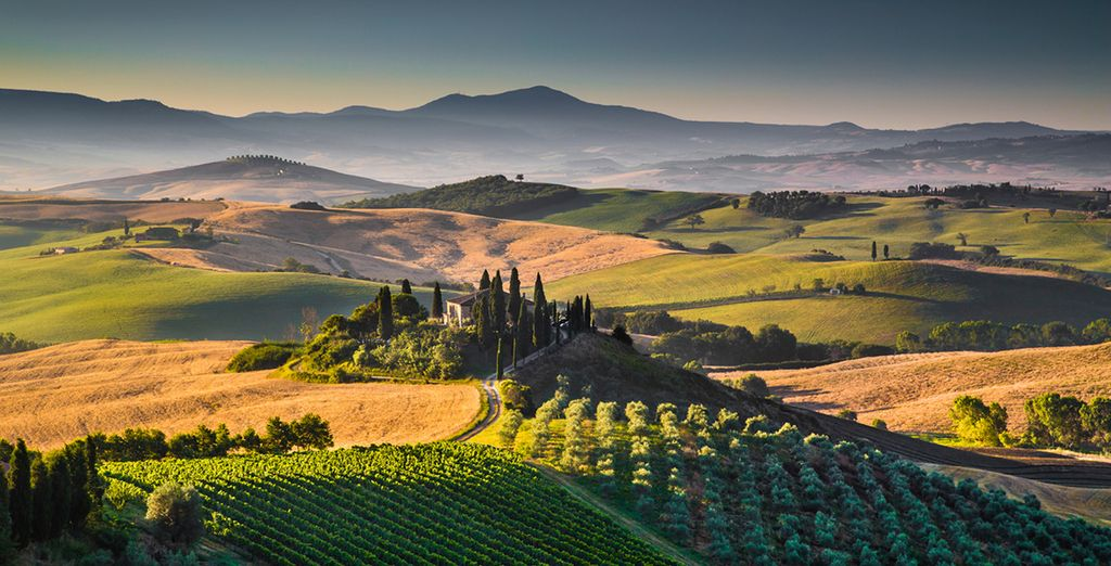 Explore rolling hills of Tuscany with added car hire