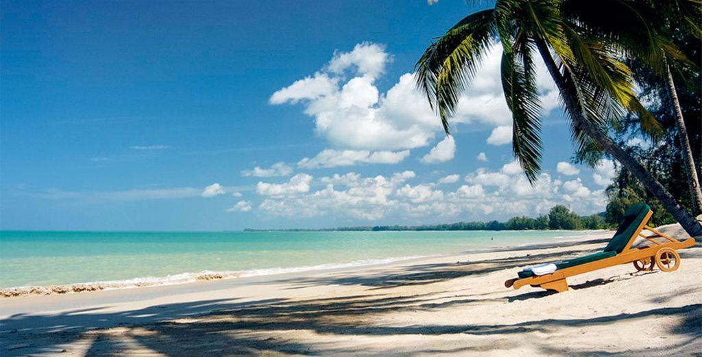 Or on the pristine sandy beach