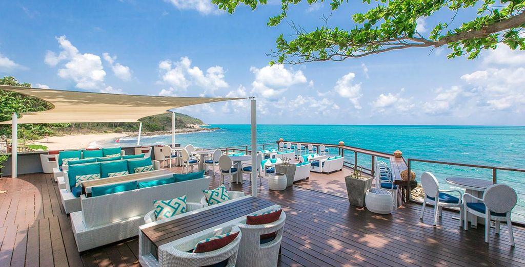 Head down for breakfast overlooking the endless blue ocean