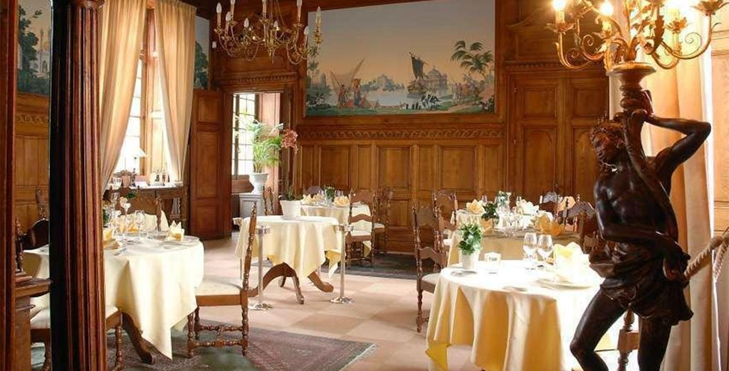Dine at one of the two elegant restaurants...
