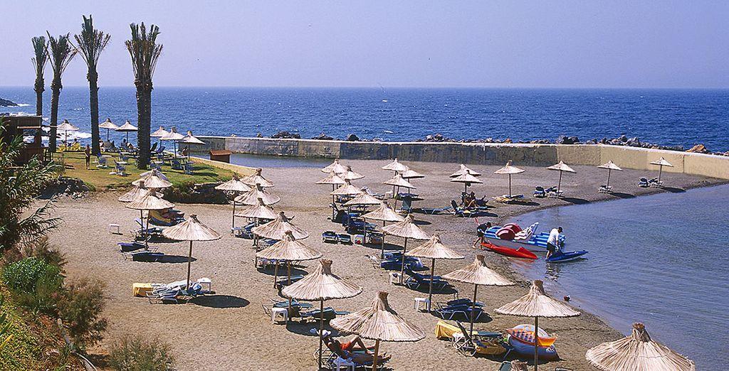 Head down to the private sandy beach