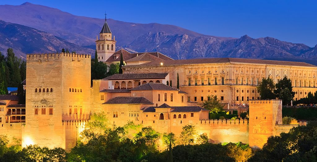 Delight in views of the Alhambra Palace and the Sierra Nevada mountains