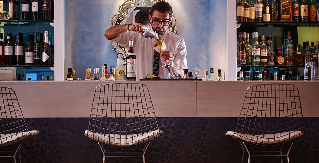 Unwind with refreshments at the cool bar