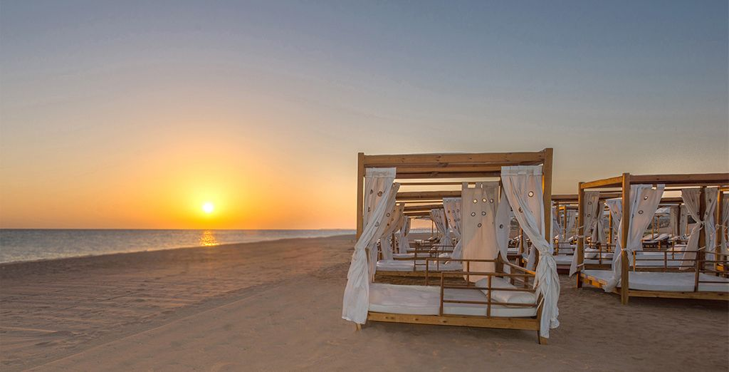 Or chill out in a shaded beach cabana