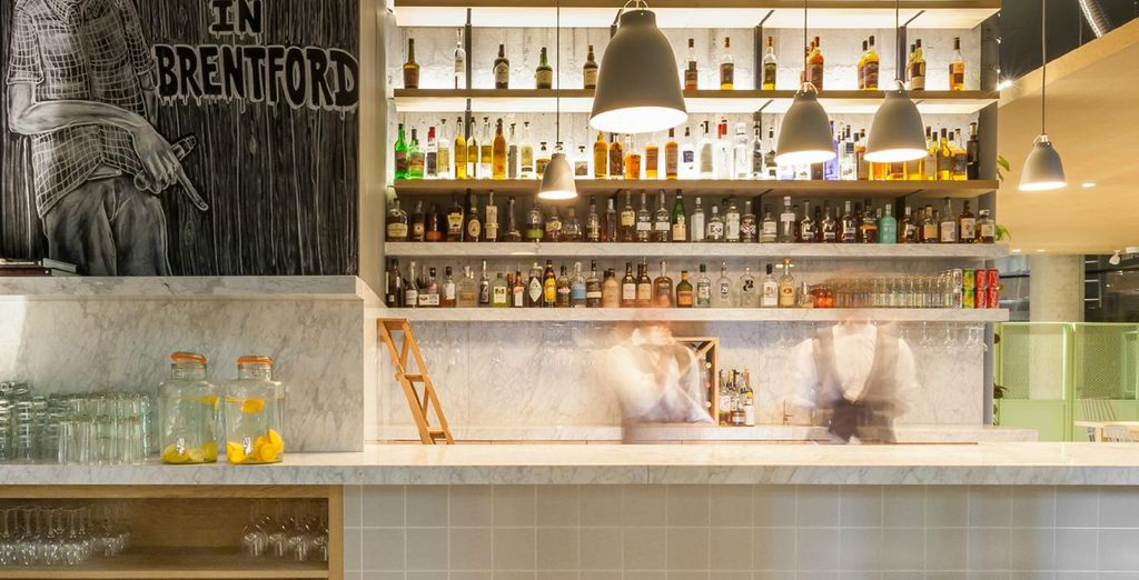 Order classic and innovative beverages at the chic bar, Sour Diesel