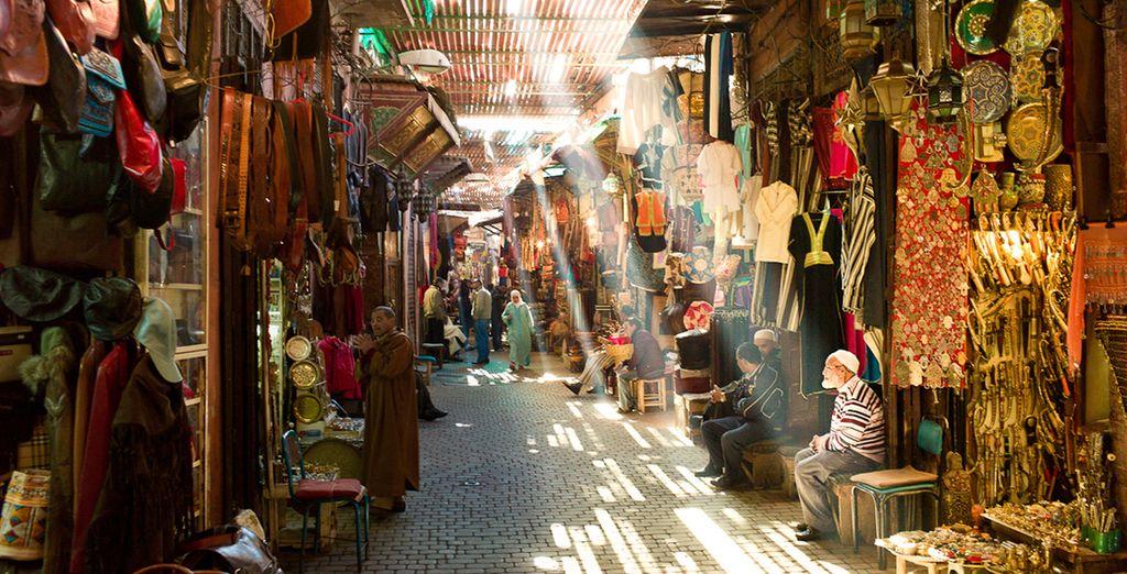 Wander through the bustling souks of Marrakech