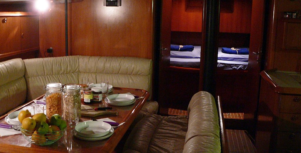 In superb cabins with lots of space and comfort