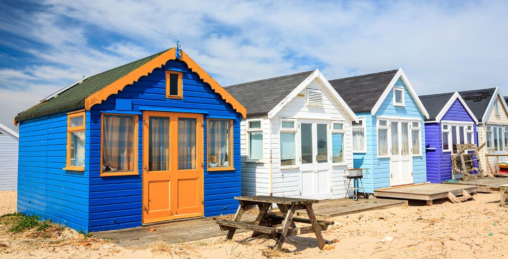 Spot Dorset's signature colourful beach huts