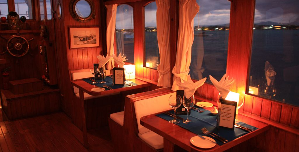 Or on a boat, overlooking the sea