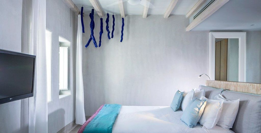 Your room is decorated in typical Cycladic style