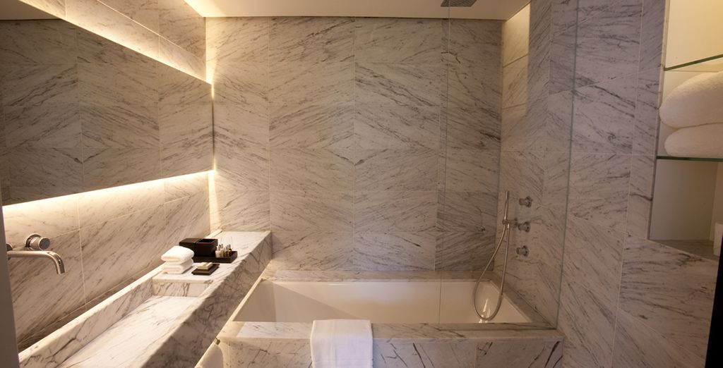 Complete with a luxury marble ensuite bathroom