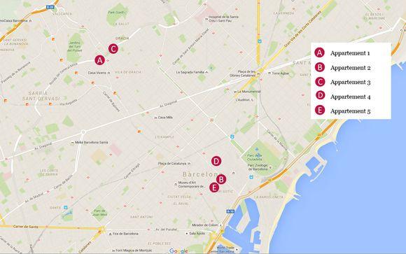 Localisation géographique des 5 appartements
